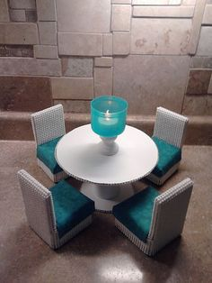 Barbie Furniture -Round Dining Table and Chairs Set- Teal and White 1:6th Scale
