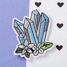 Blue Floral Crystals Woven Patch