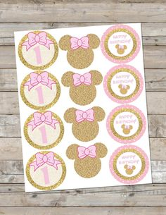 Hey, I found this really awesome Etsy listing at https://www.etsy.com/listing/285566301/pink-and-gold-minnie-mouse-cupcake