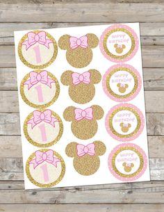 Oro y rosa Minnie Mouse Cupcake por KJDesignsCompany en Etsy                                                                                                                                                                                 Más
