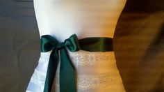 Hunter green satin ribbon sash bridal belt by DoIHearWeddingBells, $12.00
