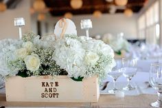 Would be great for centerpieces for a wedding.  Centerpieces - Love the names burned/painted on