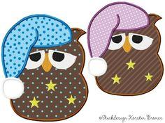 Stickmuster für eine Stickmaschine.  Applikations Stickdatei: Eule Ursula Schlafmütze. Owl appliqué embroidery for embroidery machine.