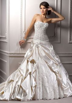 Ball Gown Satin/Lace Strapless Sleeveless Floor-Length Wedding Dress With Flowers #WGAD4946