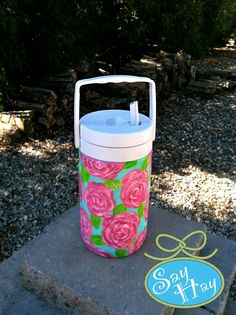 hand painted cooler in hotty pink first impression lilly pulitzer print <3