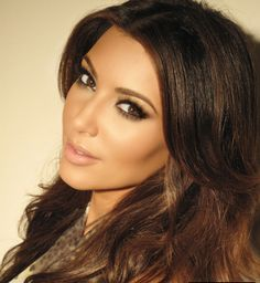 Kim Kardashian creates bone structure with light and dark shades (aka countouring)