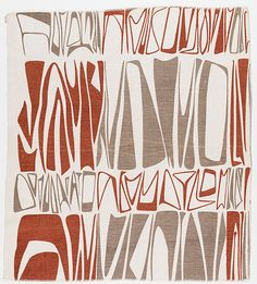 Ruth Adler Schnee, Cuneiforms, 1947–48. Screen-printed on linen, Collection Cranbrook Art Museum.