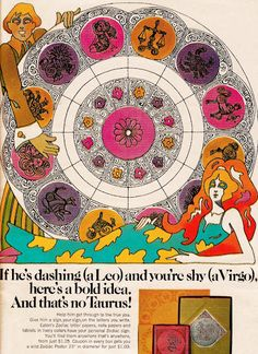 Vintage Ad: Psychedelic Zodiac 1970 I had a calendar like this, you could color the illustrations yourself......took me forever