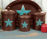 Turquoise Star Canister Set - 3 pcs $89.95, Turquoise Star Serving Platter $49.95
