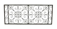 Elegantly designed oversized c. 1940's exterior Chicago church all-welded joint wrought steel window guard with scrollwork. #scrollwork #chicagochurch #wroughtsteel #salvaged