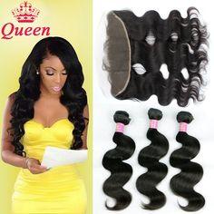 10a remy sóng tóc cơ brazil với phía trước brazil trinh tóc 13x4 ren frontal đóng cửa với bó queen hair sản phẩm