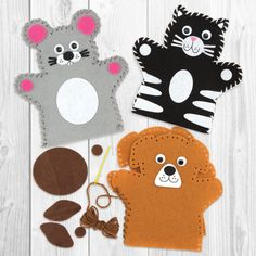 Buy Pets Hand Puppet Sewing Kits at Baker Ross. Felt hand puppets to sew and decorate. Each kit contains pre-cut felt puppet felt pieces, wiggle-eyes, pl Felt Puppets, Hand Puppets, Finger Puppets, Puppet Crafts, Felt Crafts, Sewing Classes For Kids, Pond Animals, Crafts For Kids, Arts And Crafts