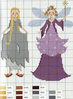 Cinderella cross stitch chart - Cinderella and the Fairy Godmother