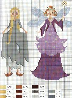 Cinderella cross stitch chart - Cinderella and the Fairy Godmother