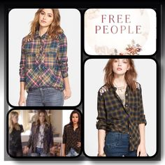 Free People Lace Up Shoulder Plaid Shirt..NWOT Great looking shirt by Free People, front snap closure, chest pockets, classic plaid is shaped into a spirited shirt detailed with lace up front shoulders and shirt- tail hem, black,gold,blue color combo Free People Tops Button Down Shirts