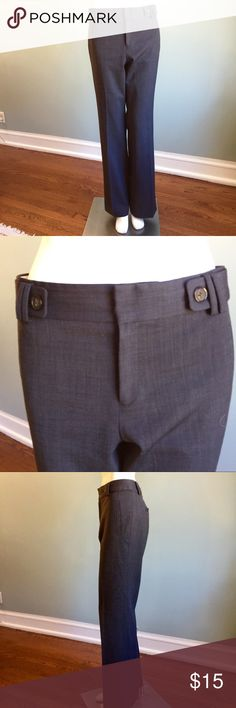 """Banana Republic Gray-blue Slacks In fair condition (small hole and discoloration shown in the last photos) these 95% wool/ 5% spandex slacks are lined and so classic. Waistband measures 36"""" hips 43"""" front rise 11"""" inseam 33.5"""" leg opening 21."""" """"Jackson fit."""" Banana Republic Pants Trousers"""