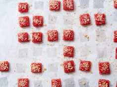 These sweet-tart, chewy strawberry-rhubarb candies, spiked with bitter-orange liqueur, come from William Werner of San Francisco's Craftsman and Wolves.