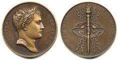 """Napoleon, The Battle of Austerlitz, 1805. Bronze Medal. By Jaley. """"NAPOLEON EMP. ET ROI."""" & """"BATAILLE D'AUSTERLITZ / II - DEC - M-DCCCV / XI - PRIM - A N - XIV"""". 41mm."""