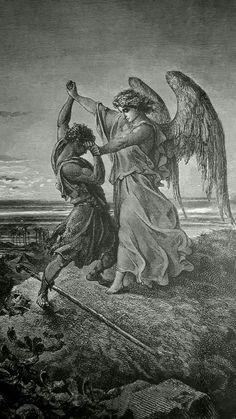 Phillip Medhurst presents detail 024/241 Bible Gustave Doré Jacob Wrestling with the Angel Genesis 32:24
