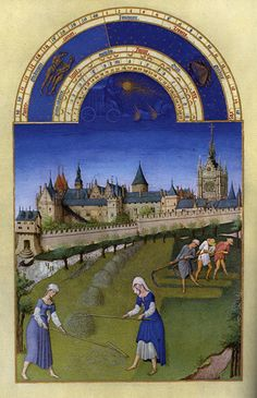 The Books of Hours of the Duc de Berry.  Books of hours were popular Christian illuminated manuscripts of the middle ages. Their role was a personalized set of prayers and sacred words based on the season or day, hence 'hours'.