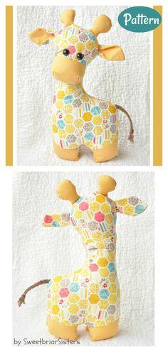 Sewing Stuffed Animals, Cute Stuffed Animals, Stuffed Animal Patterns, Stuffed Giraffe, Giraffe Toy, Baby Animals, Sewing Toys, Baby Sewing, Sewing Kit
