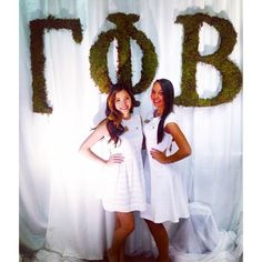 love the moss letters withe the crisp white dresses. clean and classy garden party Gamma Phi Beta, Delta Gamma, Theta, Kappa, Sorority Decorations, Moss Letters, Sorority Letters, Prep Life, Southern Prep