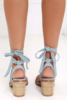 Timeless style and everyday ease join together in the Chinese Laundry Calvary Powder Blue Suede Lace-Up Sandals! Soft genuine suede leather caps the peep toe and single strap, while more straps cross and tie above the ankle. Top-stitched welt.