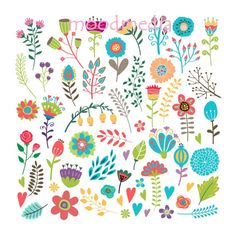 Vintage Hand Drawn Floral Flowers Colorful Clipart by moodmedia