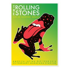 Commemorate the Rolling Stones' Rio de Janeiro stop on Feb 20, 2016 at the Maracana Stadium on the 2016 Olé Tour with this exclusive lithograph, designed by Cha