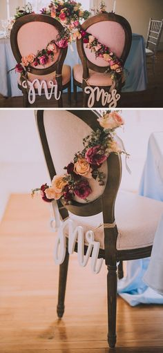 Mr & Mrs wedding chair signs with floral garland