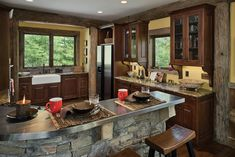 View this Blue Ridge, Georgia post and beam log home cabin, by award-winning PrecisionCraft custom homes. Log Cabin Kitchens, Dream Kitchens, Beautiful Kitchens, Log Home Floor Plans, House Plans, Log Home Decorating, Decorating Ideas, Decor Ideas, Barn Renovation