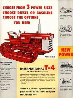 IH T-4, T-5 & TD-5 Crawler Ad Antique Tractors, Vintage Tractors, Vintage Farm, Vintage Tools, Navistar International, International Tractors, International Harvester, Case Tractors, Farmall Tractors