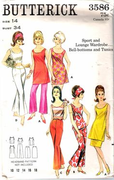 """Vintage 1960's Butterick 3586 Sport & Lounge Wardrobe Bell-Bottoms and Tunics Sewing Pattern Size 14 Bust 34"""" by Recycledelic1 on Etsy"""