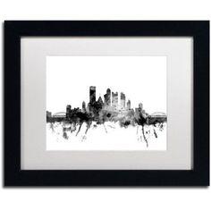 Trademark Fine Art Pittsburgh PA Skyline B Canvas Art by Michael Tompsett, White Matte, Black Frame, Size: 11 x 14, Gray
