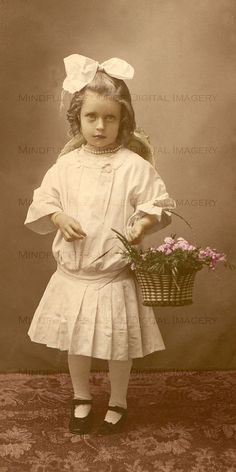 Edwardian Photograph Girl with Flower Basket Vintage Tinted Digital Download Altered Art Supply / Collage Print by mindfulresource