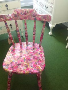 Vintage Shabby Chic Handcrafted Decopatch Farmhouse Chair