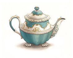Vintage Tea Pot Illustration Archival Print by AliciasInfinity