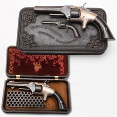 First S&W-  The first Smith & Wesson revolver. The S&W Model No. 1 First Issue revolver was a diminutive .22 handgun, but boasting a seven-shot cylinder. A few examples were fortunate enough to be issued from the factory inside a gutta-percha casing, complete with a molded rendering of the revolver itself. Inside the hinged lid of the case was space to hold both the spur-trigger seven-shooter and a supply of the new .22 caliber metallic cartridges.