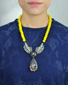 $220 Yellow Resin Pendant Swarovski Crystals Necklace by Miss Julie  Shop here: http://www.trendcy.com/yellow-resin-pendant-swarovski-crystals-necklace/