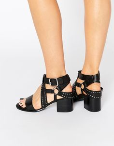 Image 1 ofSenso Mindy Black Leather Studded Harness Sandal