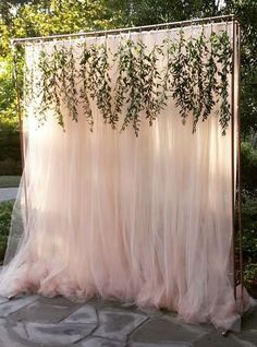 unique tulle and foliage wedding decor