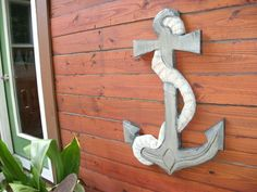 Anchor and Rope carving one piece 34x 21 chainsaw wood carved nautical decor maritime beach art. $149.00, via Etsy.