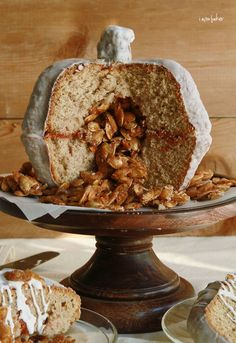 Pumpkin Velvet Spice Cake with Candied Pumpkin Seeds. So cool!