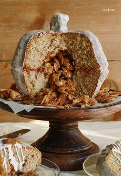 Pumpkin Velvet Spice Cake with SURPRISE candied pumpkin seeds inside! via I AM BAKER