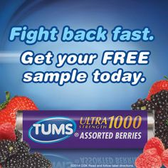 They say that Tums goes to work in seconds to relieve: Acid indigestion, Heartburn, Sour stomach and any .Upset stomach associated with these symptoms. This is a Free Sample of Tums Assorted Berries Ultra Strength 1000 Calcium Carbonate/Antacid. Try it and see if you get the relief you were looking for! http://ifreesamples.com/enjoy-free-sample-tums/