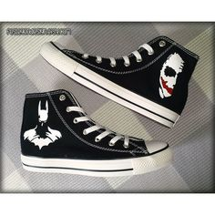 Batman Joker Custom Converse Painted Shoes ($75) ❤ liked on Polyvore featuring shoes, lucite shoes, converse footwear, acrylic shoes and converse shoes
