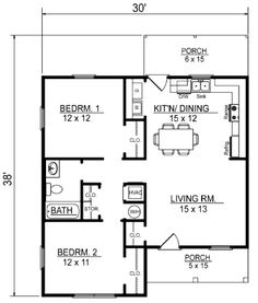 Cottage Style House Plan - 2 Beds 1 Baths 856 Sq/Ft Plan #14-239 Floor Plan - Main Floor Plan - Houseplans.com