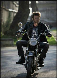 Kivanç Tatlitug Actor Model Bike  Motorcycle Leather Jacket Black Jeans Graphic Tshirt Combat Boots