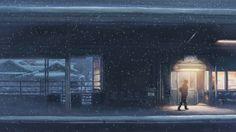 snow trains Makoto Shinkai train stations 5 Centimeters Per Second - Wallpaper (#139222) / Wallbase.cc
