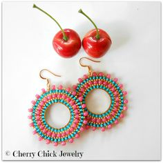 Seed Beaded Bohemian Hoop Earrings ~ Aqua, Rose, and Silver by Cherry Chick on Etsy